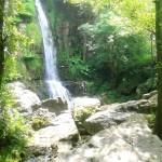 Un gran salto de agua que cae entre las rocas
